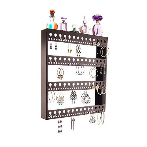 Wandhalterung Ohrring Halterung zum Aufhängen Schmuck Organizer Stauraum Rack w/Tablett, groß Ohrring Engel, Metall, Rubbed Bronze, Large -