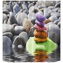 LB 180x180cm Tela de Poliéster de Baño Cortinas con 12 Ganchos | Piedras de colores, meditación Zen Spa Yoga | Diseño de Resistente al Agua Mildew-Resistant Cortinas de Ducha para Baño Decoración