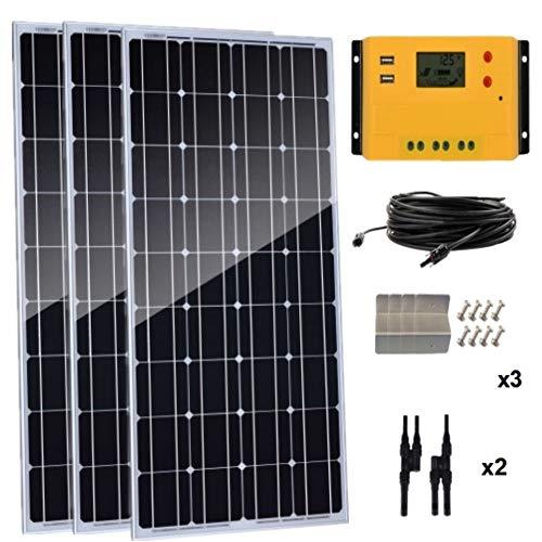 Contenido del paquete: * Panel solar mono de 3 x 100 W. * 1 x 30 A PWM 12 V/24 V controlador solar (color naranja). * 1 cable solar de 5 m con conectores MC4. * 3 soportes Z. * 2 pares de conectores MC4 Y. Fuerte y potente, este panel solar monocrist...
