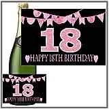 Eternal Design Flaschenetikett zum 18. Geburtstag Champagner... pink glitter