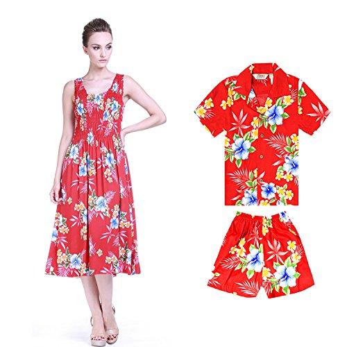 3a71e798b Camisa de vestir elástica en color luau con traje de fiesta de madre e hijo  hawaiano en Hibiscus rojo Mujeres Talla única Chico 2