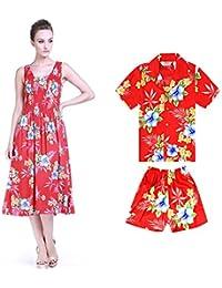 65aa32e79 Hawaii Hangover Camisa de Vestir elástica en Color Luau con Traje de Fiesta  de Madre e Hijo Hawaiano en Hibiscus in…