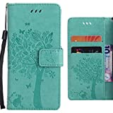 Handyhülle Microsoft Lumia 640 LTE Hülle, Ougger Einzigartiger Baum Tasche Leder Schutzhülle Bumper Schale Weich Tasche Magnet Silikon Beutel Flip Cover mit Kartenslot (Grün)