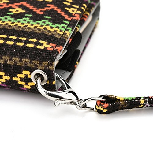 Kroo Téléphone portable Dragonne de transport étui avec porte-cartes pour Prune Gator/carreaux Plus Multicolore - vert Multicolore - jaune