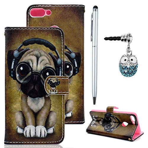 Edauto Honor 7C Leder Hülle Huawei Y7 2018 Case Tasche Handyhülle Kunstleder Brieftasche Wallet Schale Bookstyle Schutzhülle Ständer Kartenfach Magnetverschluss Klapptasche Hund