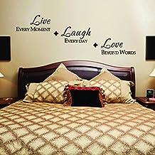 Familia Vinilo–Live, Laugh Love- Fmaily sala de inspiración adhesivo para pared amor calcomanías pegatinas de cabecero de cama (marrón, tamaño mediano)
