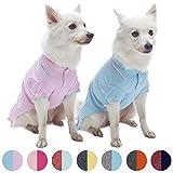 """Blueberry Pet collection """"back to basic"""" Lot de 2 polos pour chien en coton mélangé, Rose pastel et Bleu, longueur de dos 36cm"""