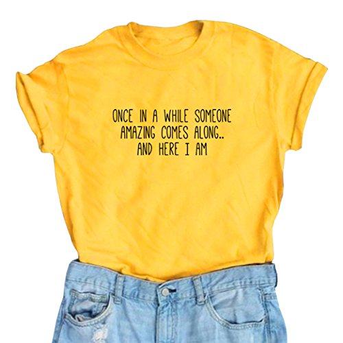Yeesea Summer Women's Cute Short Sleeve Tops Teen Girl Tee Funny T Shirt