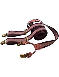 Lawevan mujeres y tirantes de cuero pantalones de los apoyos Supenders rojo y marrón patrón de la franja cattlehide hombres