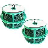 com-four® 100 Meter Bindedraht in grün, 2 Rollen mit je 50 Meter kunststoffummanteltem Draht mit Abschneidevorrichtung (02x 50m grün V2)