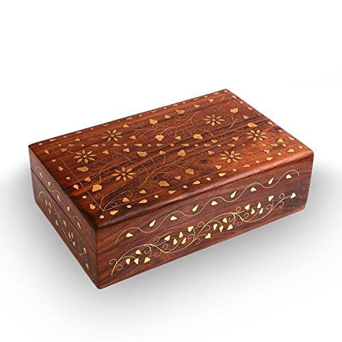 Weihnachten oder Erntedankfest der Tagesgeschenk, Hölzerne Schmuck Kästen Rechteck Blume Inlay 8X5 Zoll Vintage Box, Schmuck Aufbewahrungsbox, dekorative Boxen für Frauen & Mädchen (Holz-inlay-kit)