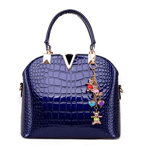 Weibliche Helle Ledertaschen Art Und Weise Neue Stereotyp Tasche Schulterhandtaschen-Anhänger Senden Blue