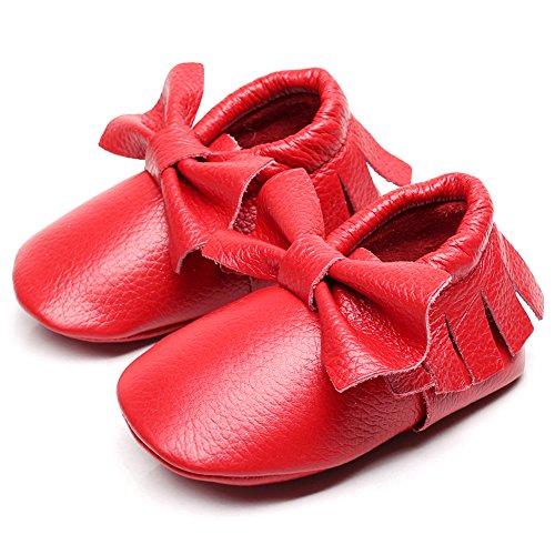 Jamron Baby Schön Bowknot Quaste Krippenschuhe Säugling Kleinkind Weiche Sohle Prewalker Turnschuhe 0-24 Monate Rot