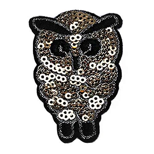 Lumanuby 1x Kleine Schwarz Augen Eule Stickerei Applikation für Kinder T-Shirt/Jacken oder Kapuzenpullover Vogel Patches aus Pailletten mit Bead für Mädchen und Jungen Kleidung, Aufnäher Serie size 4x6.5cm
