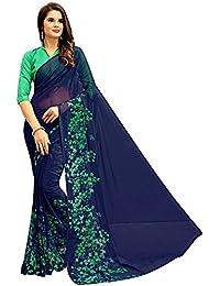Rajeshwar Fashion Women's Georgette Saree (A14 BLUE PLAIN HK_Blue)