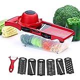 Gemüsechachranker-Chopping-Maschine Onion Salad Food Chopper-7 In 1 Vegetarischer Spiralschnitt Gemüseschnitt-Slicer Fruchtgeschüze, 6 Klingen