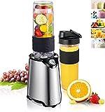 Aicok Standmixer, Smoothie Maker, Edelstahl Mini Mixer mit Reise Sport Flaschendeckel und aus Tritan und BPA-freiem Behälter, Ideal für Smoothies, Shakes und Baby Nahrung, 570ml, 300W