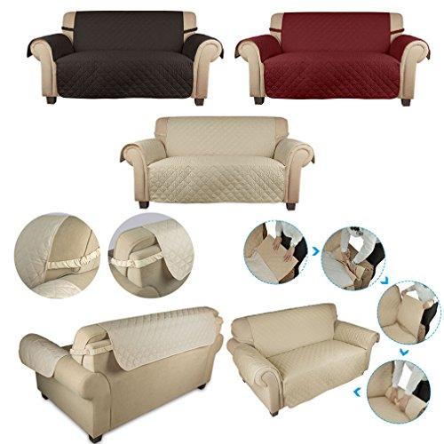 Wohl-H beige 2 Sitzer 167x112 cm Sesselschoner Sofaschoner Sesselüberwurf Sofa Decke aus 60g PP Baumwolle besonders für Haustier, Baby Familie