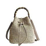 OneMoreT Strandkordeltasche für Damen, für den Sommer, Strick, Strohhalm, Casual, Urlaub, Crossbody-Tasche, Bambus-Griff, Handtaschen