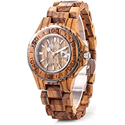 GBlife BEWELL ZS-100BL Womens Wooden Watch Analog Quartz Movement with Date Display Retro Style(Zebra wood)
