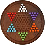 Toolart Chinese Checkers Game Set with 12 Inch Diameter Round Wooden Board and Acrylic Beads with Extra 2 of 6 Colors Each
