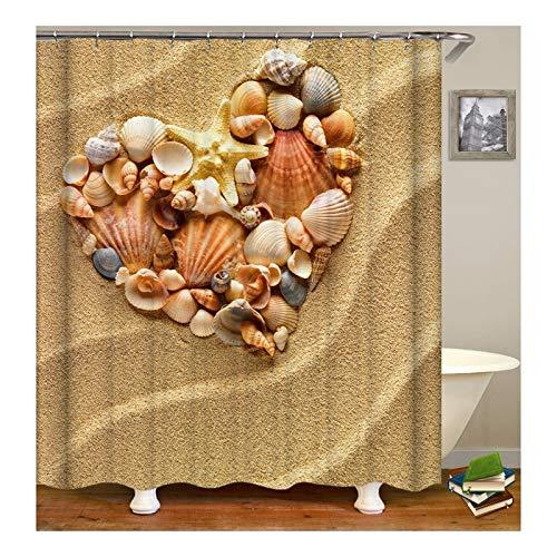 Knbob Duschvorhang Personalisiert Strand Shell Heart Mehrfarbig Duschvorhang -
