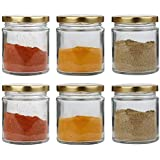 STAR WORK Mini Round Glass Jar And Container With Rust Proof Air Tight Lid (Gold) - Set Of 4