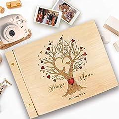 Idea Regalo - Guestbook matrimonio, in legno, personalizzato, nomi degli sposi e la data, album famiglia per foto, idea regalo per gli anniversari, l'albero della vita.