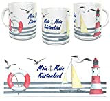 Kinderlampenland Tasse Moin Moin Küstenkind Kaffeebecher Maritim Segelschiff Leuchtturm