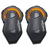 Intercom Motorrad Gegensprechanlage für 6 Fahrer Gruppe Intercom, FreedConn T-Max Helm Bluetooth Headset für Motorrad Skifahren (1000m Reichweite, Wasserdicht, FM Radio, Voice Prompt, 2er Set)