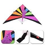 Lixada 280*145cm Big Nylon Sail Kites Single Line Kite Flyer Kite Triangle Multicolor Big Delta-shape Kite Flyer For Fun