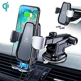 DesertWest Wireless Car Charger, 10W Qi Fast Charging Wireless Charger Car Phone Holder Auto Clamping Compatible with iPhone X/XS/XS Max/XR/8/8Plus/Samsung S10/S10+/S10e/S9/S9+/S8/S8+ and More