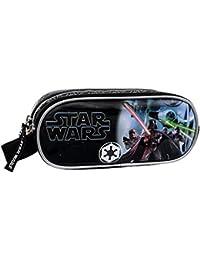 Star Wars Estuche Doble Compartimento, Color Negro, 1.45 Litros