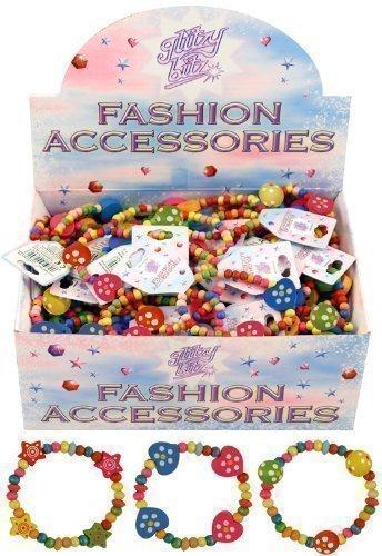 6 x Schöne Mädchen Holzperlen Armbänder Schönes Partytüten Füllmaterial Herzen Und Sterne