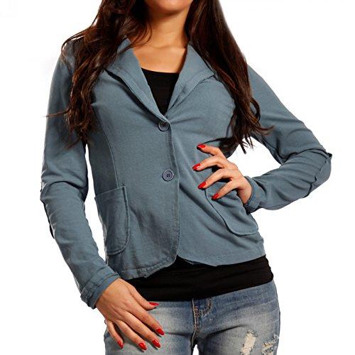 Damen Blazer Baumwolle Vintage Sweatblazer Kurzjacke Jeansblau