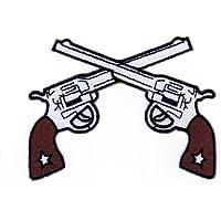 weiß Pistolen Revolver 10.2 x 7.7 cm Aufnäher // Bügelbild Patch Flicken