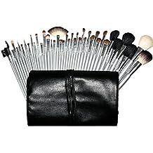 JasCherry Pro 40 Pcs brochas de maquillaje cosméticas Kit con bolsa enrollada de cuero - profesional cepillos / pinceles conjunto para Corrector Sombra de Ojos Ceja Fundación Polvo