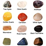 #1: 12 Set of Green Jade - Golden Quartz - Black Tourmaline - Rose Quartz - Amethyst - Carnelian - Moonstone - Lapis Lazuli - White Agate - Tiger Eye - etc Mixed Healing Reiki Gemstones Collection Meditation - Crystal Tumble Stone Kit