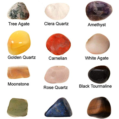 12 Set of Green Jade - Golden Quartz - Black Tourmaline - Rose Quartz - Amethyst - Carnelian - Moonstone - Lapis Lazuli - White Agate - Tiger Eye - etc Mixed Healing Reiki Gemstones Collection Meditation - Crystal Tumble Stone Kit