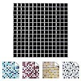 Wandaro 4er Pack 25,3 x 25,3 cm Schwarz Design 8 I 3D Fliesenaufkleber Mosaik große Auswahl für Küche Bad Fliesenfolie Selbstklebend Wandaufkleber W3329