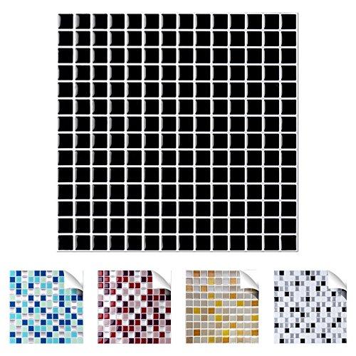 Wandaro 4er Pack 25,3 x 25,3 cm schwarz Design 8 I 3D Fliesenaufkleber Mosaik große Auswahl für Küche Bad Fliesenfolie selbstklebend Wandaufkleber W3329 (Schwarz-vinyl-fliesen)