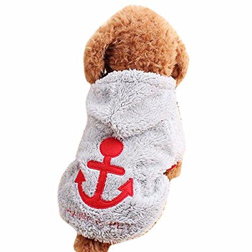 QIYUN.Z Hund, Katze, Korallen Samt Pullover Schoene Anker Hoodies Warmen Mantel Haustierkleid