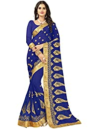 Vastrang Womens Georgette Embroidered Sarees, 5458