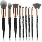 Set de Pinceaux de Maquillage Marbre avec Trousse Lily England | 9 Pinceaux de Maquillage Professionnels Visage et Yeux – Marbre Noir et Or Rose