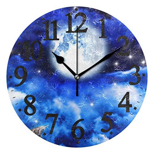 Ahomy Wanduhr, Mondbeleuchtung, Motiv Night In The Sky, rund, mit Segelboot, Nicht tickend, lautlos, für Zuhause/Küche, Büro/Schule, 25 x 25 x 0,5 cm Sky Zeiger