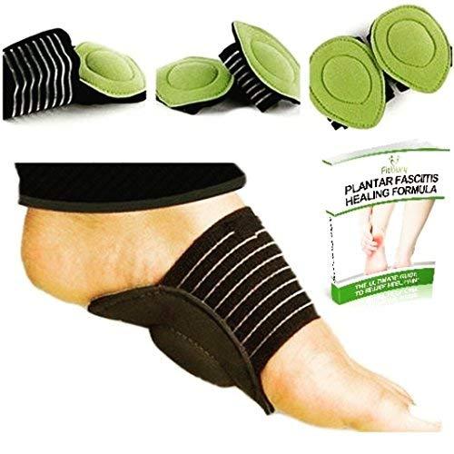 Lot de deux paires (4pièces) de soutiens de voute plantaire contre la fasciite plantaire - 2 livres numériques (français non garanti) - Coussins pour pieds - Chaussettes de support pour talon et ch