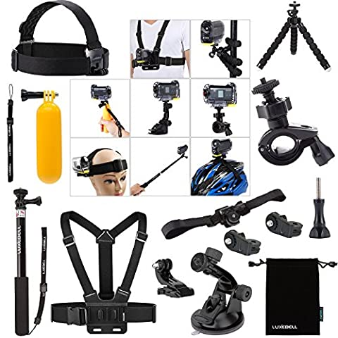 Luxebell® Kit 14in1 accessoires Bundle pour Sony Action Cam HDR-AS15