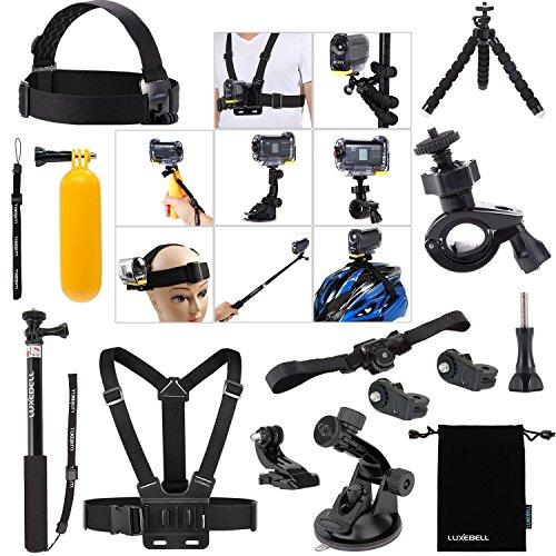 Kit de Accesorios Bundle Professional para Sony Accion Cam HDR-AS15 / AS20 / AS30V / AS100V / AS200V / Sony Accion Cam HDR-AZ1 Mini Sony FDR-X1000V / W 4K Cámaras.Descripciones:Monte de Pecho + Superficie J-Gancho + Adaptador de montaje + Tornillo. E...
