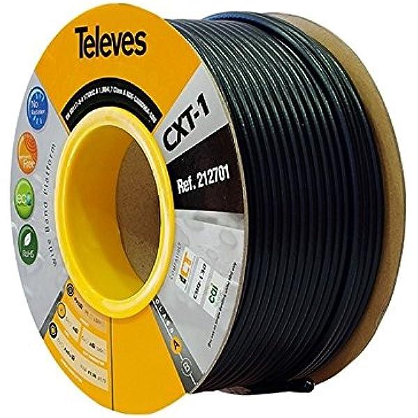 Televes 212701, Cable Coaxial Acero-Cobre CXT1, Negro, PVC ...