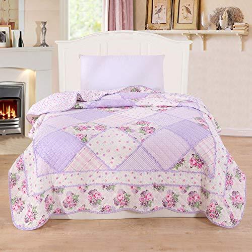 Alicemall copriletto trapunta estate singolo coperta per letto dei bambini patchwork peso leggero in cotone 150 x 200cm stile 3